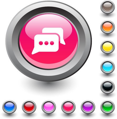 Chat  metallic vibrant round icon.  Vector