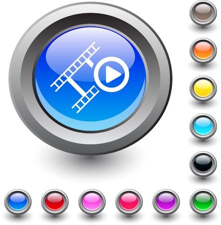 Film  metallic vibrant round icon.  Vector