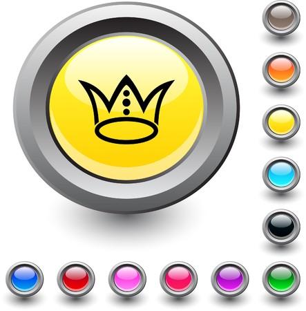 Crown  metallic vibrant round icon.  Vector