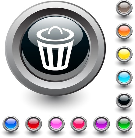 Dustbin  metallic vibrant round icon.  Vector