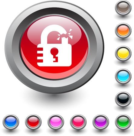 Unlock metallic vibrant round icon. Stock Vector - 7531676