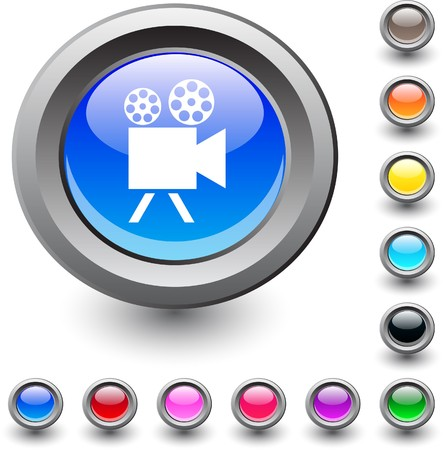 Video camera  metallic vibrant round icon.  Vector