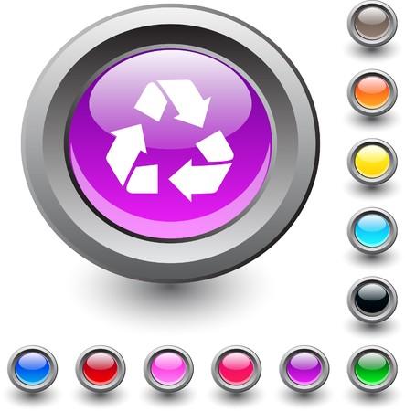 recycling metallic vibrant round icon.  Vector
