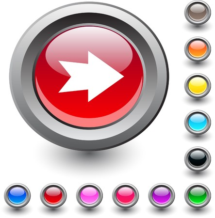 Forward arrow  metallic vibrant round icon. Stock Vector - 7531635