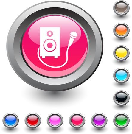 Karaoke  metallic vibrant round icon. Vector