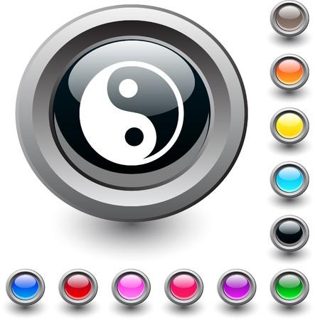 ying yang: Ying yang  metallic vibrant round icon.