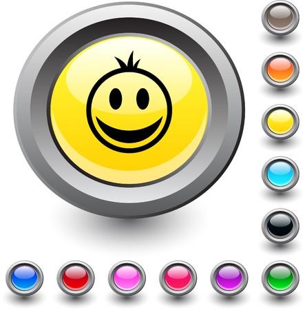 Smiley  metallic vibrant round icon.  Vector