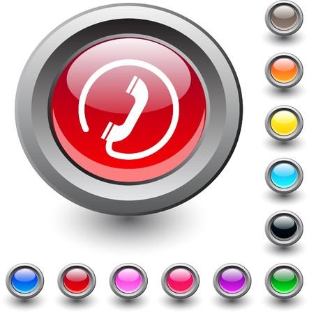 Call  metallic vibrant round icon. Stock Vector - 7531651