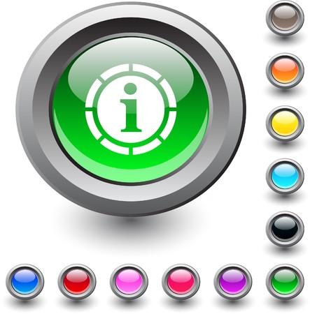 Information  metallic vibrant round icon. Stock Vector - 7531680