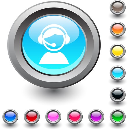 Operator  metallic vibrant round icon.  Vector