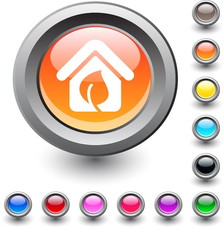 Green home  metallic vibrant round icon. Stock Vector - 7531715