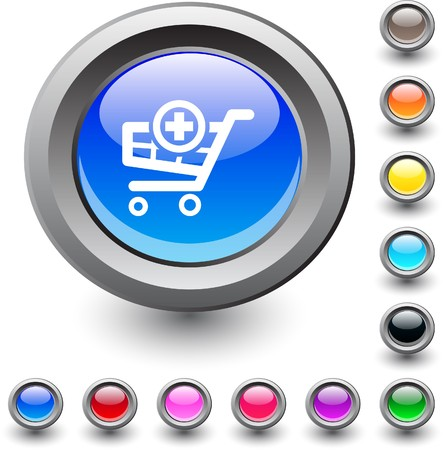 add icon:  Add to cart  metallic vibrant round icon.  Illustration