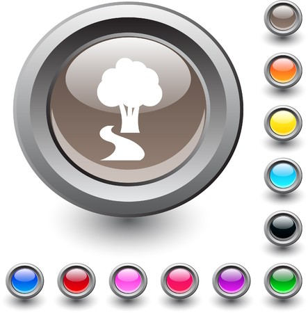 Tree  metallic vibrant round icon.  Vector