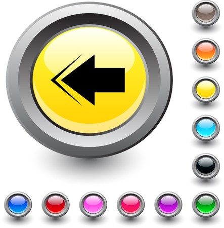 Back arrow  metallic vibrant round icon.   Back arrow  metallic vibrant round icon.   Back arrow  metallic vibrant round icon. Stock Vector - 7531703