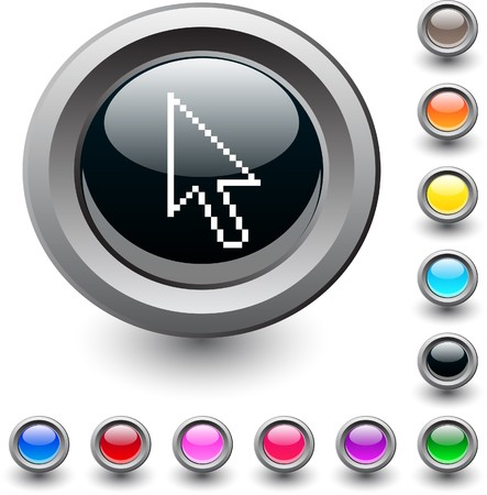 cursors:   Pixel arrow  metallic vibrant round icon.