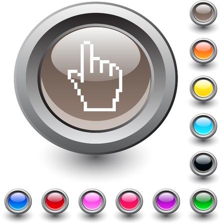 Pixel hand  metallic vibrant round icon.  Stock Vector - 7531714