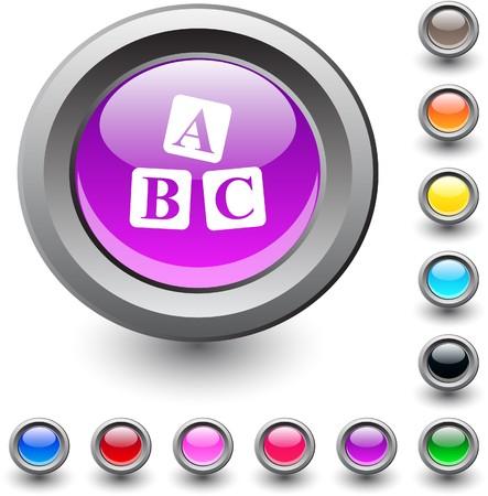 ABC cubes  metallic vibrant round icon.  Vector