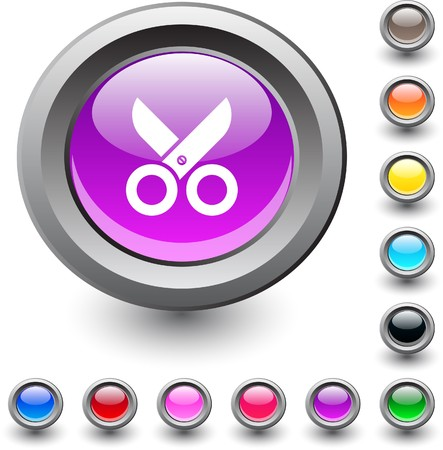 Scissors  metallic vibrant round icon.  Vector