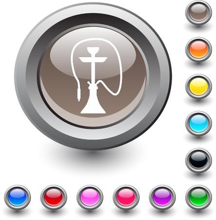 narghil�: Narghil� icona rotonda vibrante metallico.