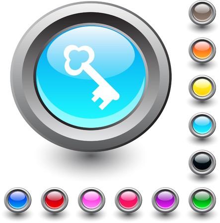 Key   metallic vibrant round icon. Stock Vector - 7531732