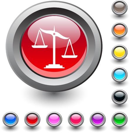 Balance  metallic vibrant round icon.  Vector