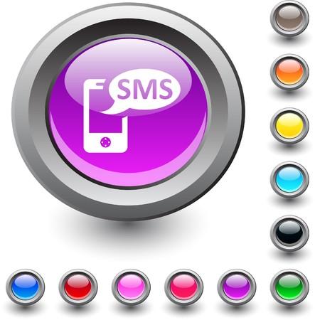 SMS  metallic vibrant round icon. Stock Vector - 7531741