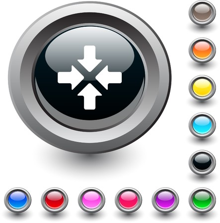 Click here  metallic vibrant round icon.  Vector