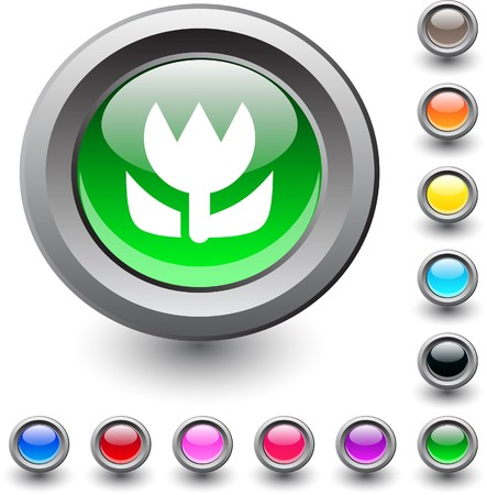 Macro  metallic vibrant round icon. Vector