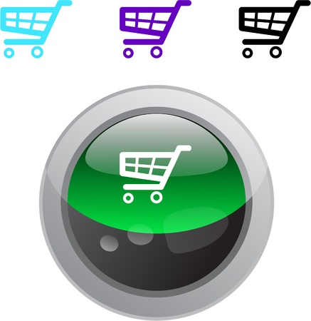 Shopping cart color metallic vibrant round icon.  Stock Vector - 8484449