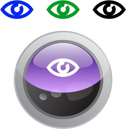 Eye color metallic vibrant round icon. Vector