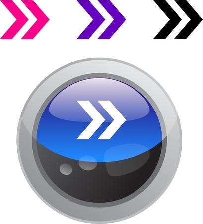 Forward arrow color metallic vibrant round icon. Vector