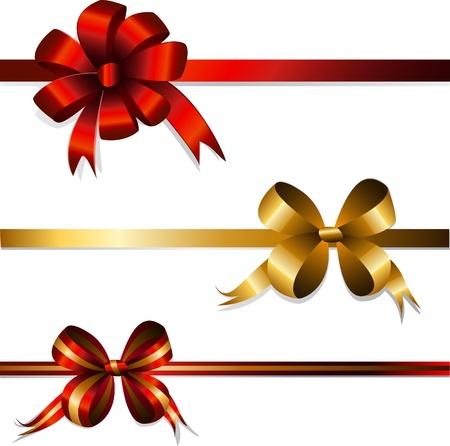 Set cadeau bogen en linten Stock Illustratie