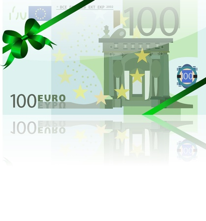 wad: gift wad of 100 euro with a green ribbon
