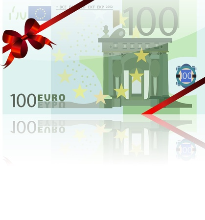 gift wad of 100 euro with a red ribbon Vector