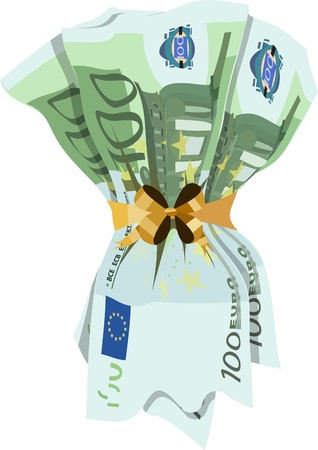 euro banknotes tied with golden ribbon on a white background Vector