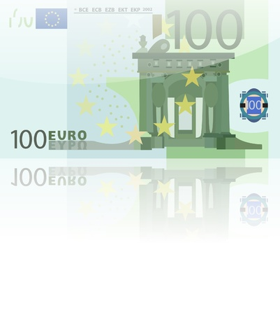 One bill of one hundred of euros on white background