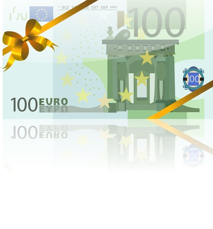 gift wad of 100 euro with a gold ribbon Stock Vector - 8706402