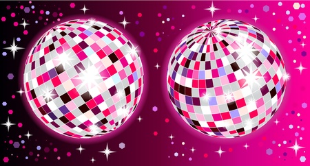 Shiny disco balls with reflection Stock Vector - 8799036