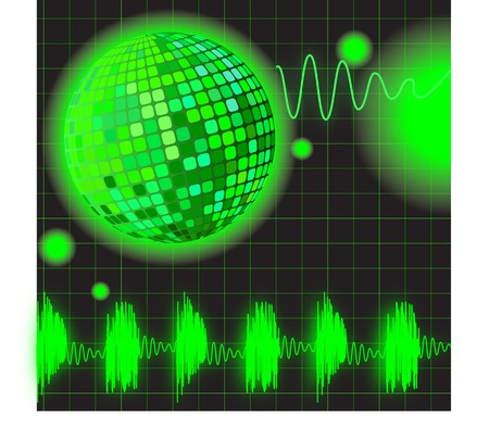 Disko ball and music equalizer on a black background Stock Vector - 8799039