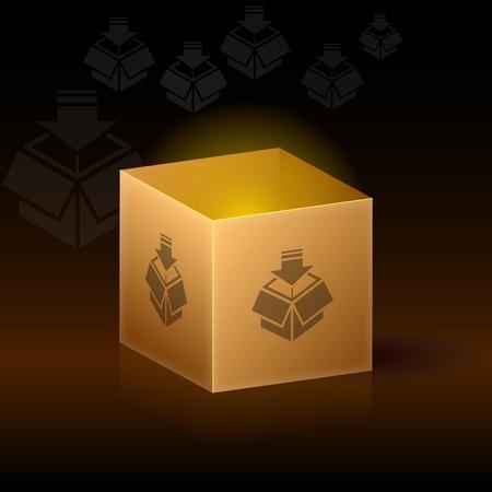 Empty cardboard box on dark background Stock Vector - 8897749