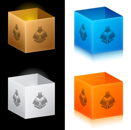 Set of color cardboard boxes Vector