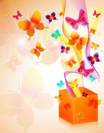 Ilustración vectorial de caja de regalo con mariposas.