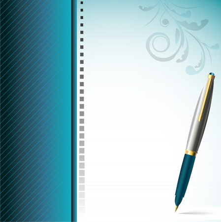 Stylish pen and  elegantly decorated page Vector