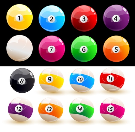 Set of colored balls billiard Vector