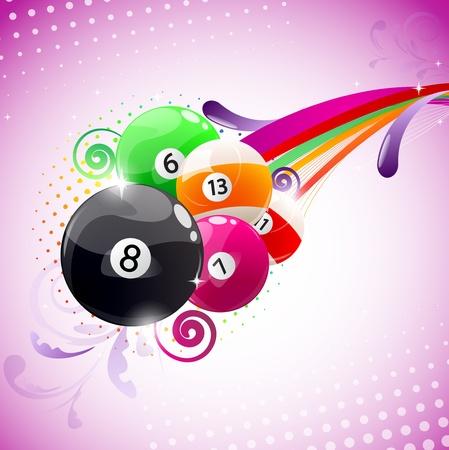 Mooie kleurrijke achtergrond met biljartballen Vector Illustratie