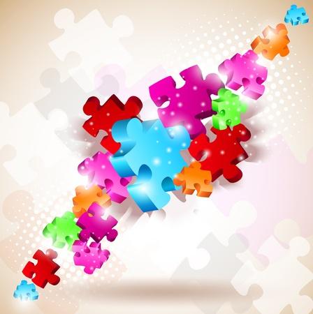 piezas de rompecabezas: Fondo abstracto de piezas de un rompecabezas  Vectores