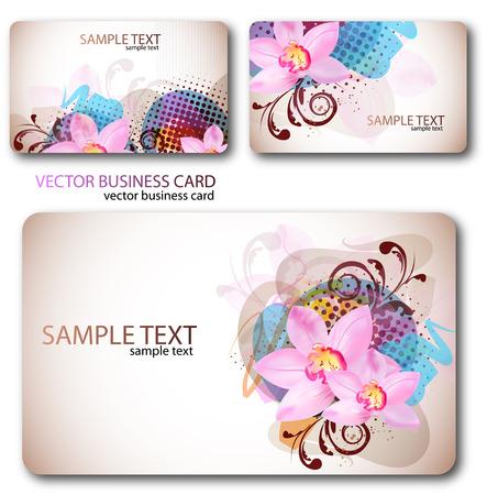 flower concept: Modern Business-Card Set. Designed in the same style Illustration
