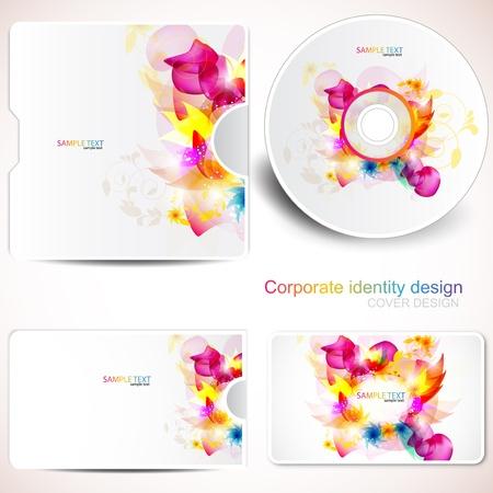 Couvrir le mod�le de conception de disque et carte de visite. Floral Design