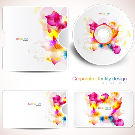 cd label: Cover design template of disk and business card. Floral Design