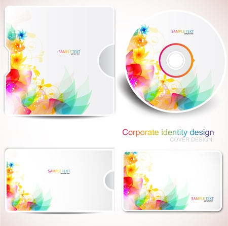 cd: Cover design template of disk and business card. Floral Design